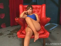 Slutty and horny Satou Haruka is playing with herself