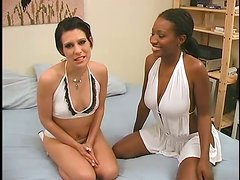 Two horny bitches get their assholes pounded hard in FFM scene