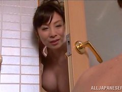 Japanese Teen and Her Hot MILF Sucking Cock in the Shower