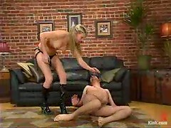 Audrey Leigh whips Maximus and attaches leads to his balls