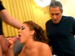 Angelic siren is going wild with two dudes at a time