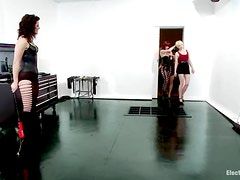 Two blonde girls get wired and toyed by two other chicks