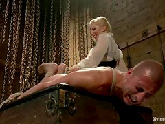 Ashley Fires rides Roman Rivers's cock after beating his butt