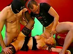 Threesome MMF action with young girls Magdalena and Bettina