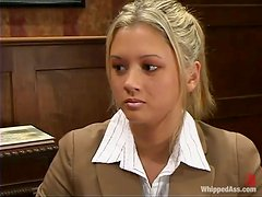 Blonde Secretary Confesses Her Submissive Desires To A Lesbian Colleague!