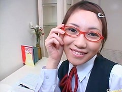 Japanese slutty babe gets a load of cum on her pretty face.