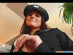 Rough anal sex with a hot brunette in a cop costume