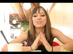 Horny teen shows her tits and pussy in a diner