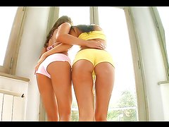 Hot babes fist one another in a hot lesbian clip