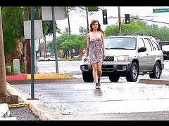 Redhead teen walks naked on the street
