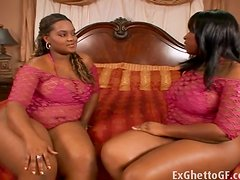 Two huge hood girls in a threesome