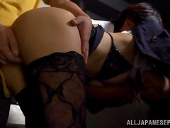 Japanese flight attendant with a nice ass gets fucked hardcore.