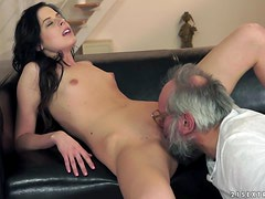 Sexy Brunette Babe Daniella Rose Bangs Older Dude