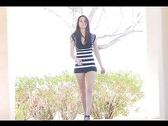 Teen brunette takes her dress off in public