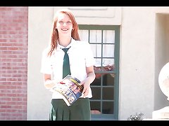 Redhead teen plays with herself while wearing her school uniform