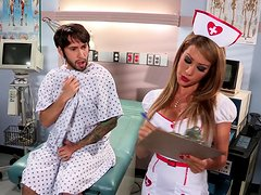A cute girl in sexy nurse uniform gets banged by a patient