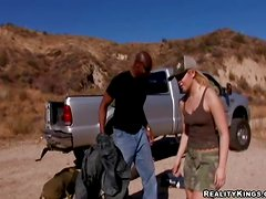 Emma Heart gets her hairy vag and butt drilled by a black guy outdoors