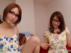 Cute Japanese girls in glasses stroke a cock and masturbate