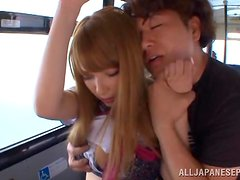 A cute Asian babe in a school uniform gets fucked in a bus