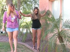 Two magnificent girls play lesbian games outdoors