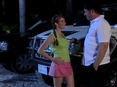 Cutie in Pigtails Gives an Older Guy an Amazing Blowjob