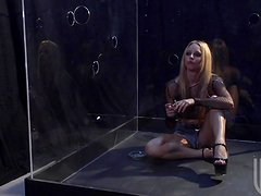 A blonde in bodystockings sucks a dick sitting in a glass box
