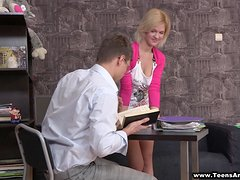 Her tutor is going to penetrate her sweet ass