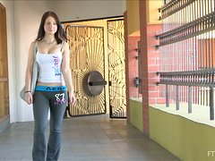 Horny girl in sportswear makes a solo show after a workout