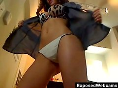 She is in High Heels and a Thong Playing on Her Webcam