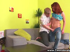 A redhead girl gets her teen ass fucked rough by her BF