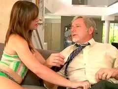 Young and naughty dark haired girlie seduces an old guy