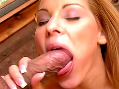 Rapacious blondie passionately swallows massive cream stick