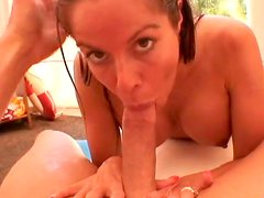 Appetizing mature slut Kora Cummings giving a deepthroat