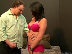 A hot girl in pink lingerie gets fucked by some fat dude