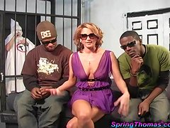 Delicious Spring Thomas Has An Interracial Threesome