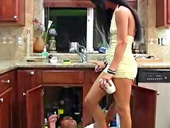 Smoking hot brunette bitch dominates over a horny bloke