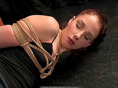 Naughty redhead bitch gets spanked and bondaged