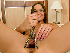 Ashley fucked with giant dildos and has her pussy stretched