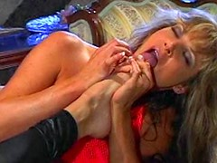 THree mature lesbian ladies use huge sex toys
