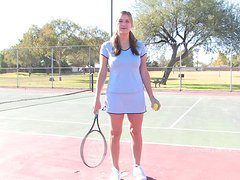 Bad Girl Plays Tennis Naked on a Public Court