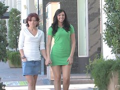 Two Hot Lesbian Babes Play With Each Other Outside