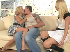 Filthy mother invites her dude and gives a couple lessons.