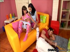 Striking Angelina Crow And Her Naughty GF Go Hardcore In A FFM