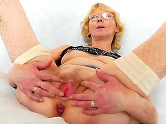 Solo masturbation by euro granny