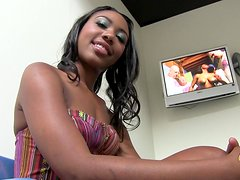 Sexy Ebony Babe Takes a Shower Backstage