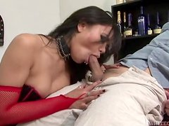Dirty Asian Pornstar In Leather Gives Head And Handjob