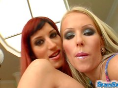 Redhead And Blonde Get Some Cock And Swallow Cum In MMF Threesome