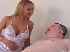Busty blonde in a negligee gets her delicious pussy licked