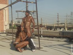 A slim ebony babe gets fucked hard by a muscled guy