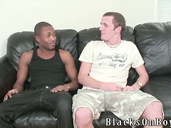 A White guy gets spanked and fucked by a Black guy